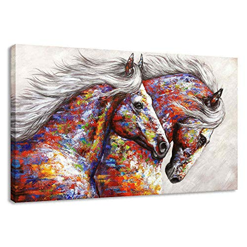 BYXART Animal Framed Wall Art for Living Room Bedroom Home Decor Colorful Two Running Horses Prints and Posters Canvas Painting Horse Pictures for Walls Ready to Hang (24x36in, Multi) - Framed Art Horses