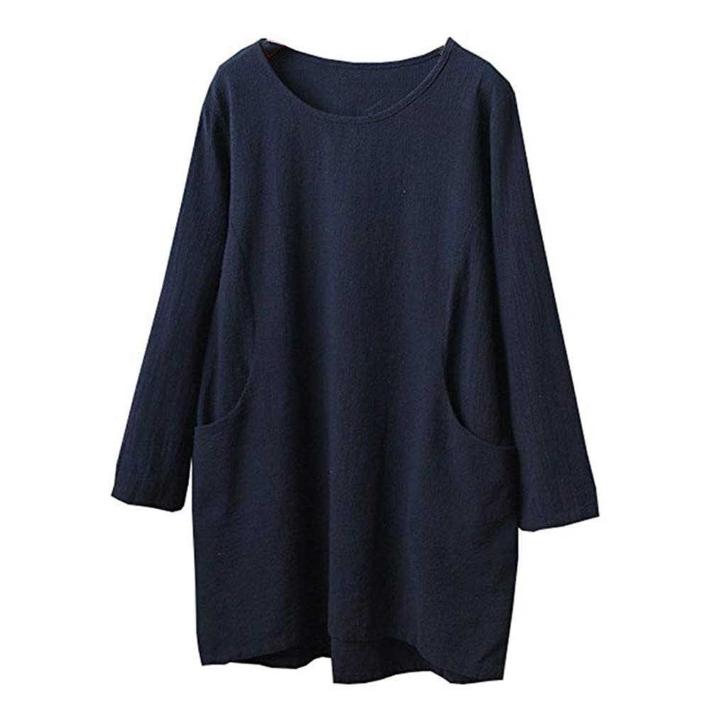 Sunhusing Womens Cotton Linen 4/5 Sleeve Solid Color Tunic Top Long Pullover T-Shirt with Pocket at Amazon Womens Clothing store: