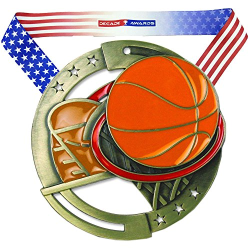 Decade Awards Basketball M3XL Premium Die Cast Color Medal - Gold   Great Medal for Any Hoops Player   Includes Stars and Stripes American Flag Neck Ribbon   2.75 Inch Wide