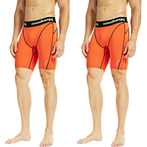 Legendfit Men's Compression Shorts Underwear Boxer Briefs Sports Tights Cool Dry 10+ Colors (Pack of 2) Orange (Print Soccer Boxers)