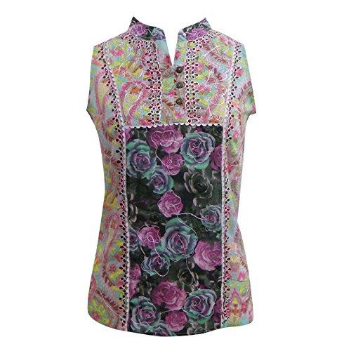 Sin mangas de algodón indio Top impreso floral de la blusa de las mujeres Kurti Túnica Multicolor