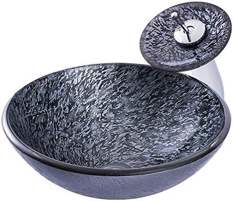 洗面ボウル バスルーム強化ガラスの上カウンター容器ボウルシンク付きでオイルラバーブロンズの蛇口、ポップアップドレイン 浴室の台所の流し (Color : Dark gray, Size : 42x42x14.5cm)
