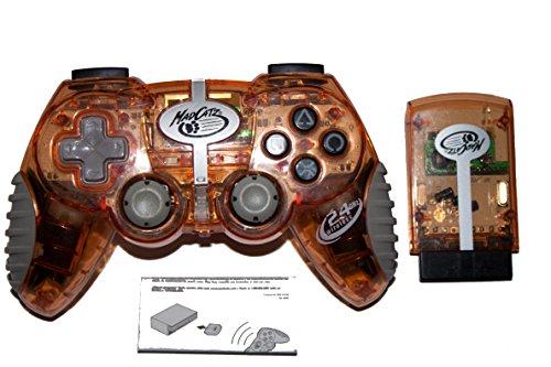 PS2 Mad Catz Wireless MicroCon Clear Orange Controller -