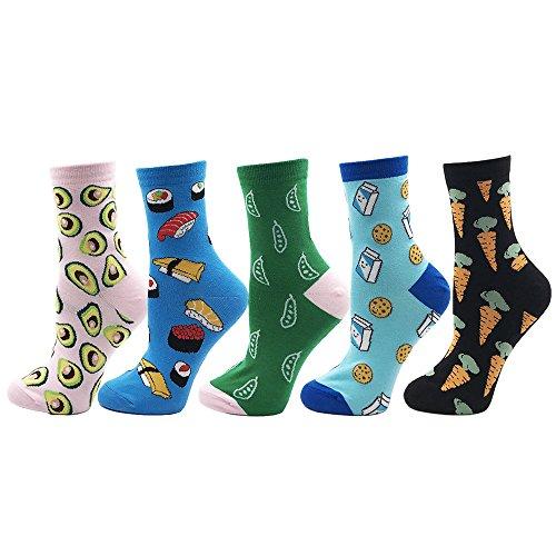 VPM Cartoon Animal&Fruit&Food Women Crew Socks Gift Box 5 Pairs/Lot US 4-7 (807 opp) by VPM