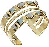 Lucky Brand Women's Double Stone Cuff Bracelet, Gold, One Size
