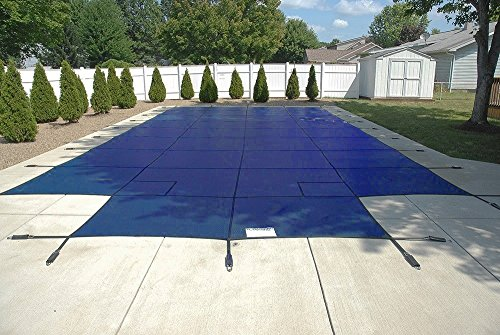 PoolTux Safety Pool Cover for 18' x 36' In Ground Pool, Royal Mesh Blue, with 4'x8' Center End Step, 15 Year Warranty (18' x 36', Mesh Blue) - Royal Blue Pool