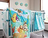NAUGHTYBOSS Unisex Baby Bedding Set Cotton 3D Embroidery Stereoscopic Ocean World Fish Hippocampus Quilt Bumper Bedskirt Fitted Urine Bag 8 Pieces Set Blue