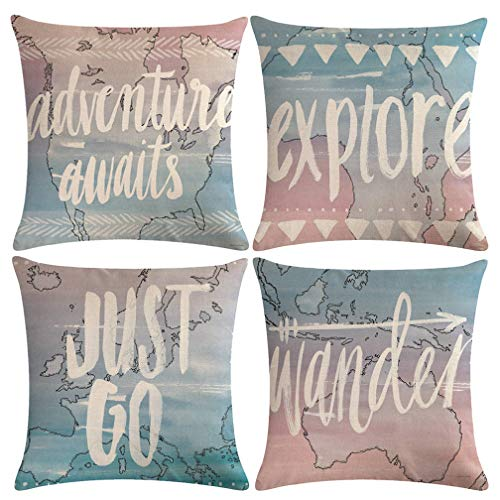 "ULOVE LOVE YOURSELF Geography World Map Pillow Cases Adventure Awaits Explore Wonder Decorative Throw Pillow Covers Ocean Theme Cushion Covers 18""×18"",4pack(World Map)"