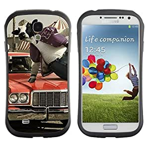 Hybrid Anti-Shock Bumper Case for Samsung Galaxy S4 / Abstract Cow Jumping
