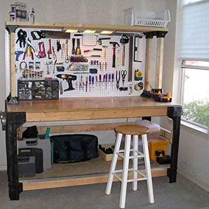 (Ship From USA) DIY Custom Workbench Storage Wooden Shelf Garage Shop  Workshop Table Bench