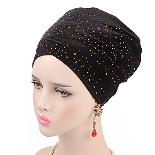 - Women Bling Crystal Dotted Chemo Hat Beanie Turban Head Wrap Cap for Cancer (Black)