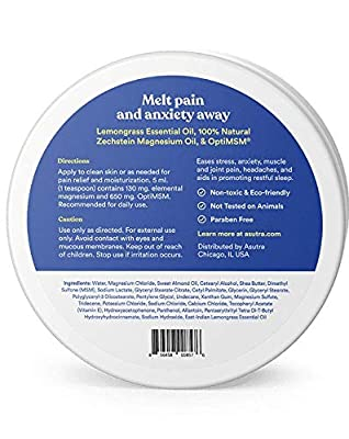 Asutra, Melt Pain Away, Magnesium Body Butter, Helps Relieve Joint Pain, Stress Relief, Anxiety Relief, Made with Soothing Magnesium Oil and Calming Lemongrass to Promote Healthy Sleep