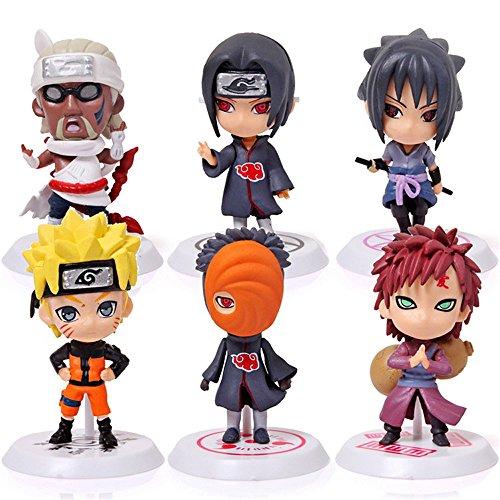 Norda Toys Naruto Mini Figures 6pcs/set Action figures PVC Toys Sasuke, Naruto, Uchiha Obito, Uchiha Itachi, Yao, Gaara - Collectible Models, Gifts Decoration Cake