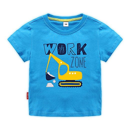 Sun Baby Toddler Boys Excavator Shirt Short Sleeve Cute Cartoon T Shirt Size 2-7T