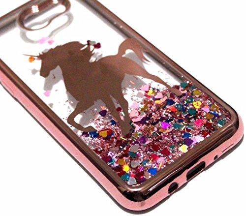 for Samsung Galaxy J3 Emerge, Luna Pro, Sol 2, J3 Prime, Amp 2, Express Prime 2, J327 (2017) Phone Case - Hybrid Glitter Liquid Waterfall Quicksand Skin Case Cover (Rose Gold Unicorn)