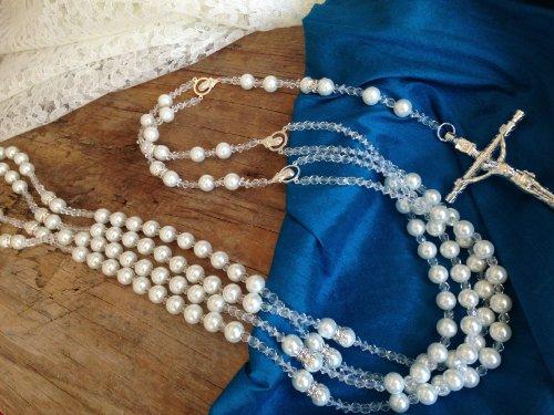 White Pearls Wedding Lasso/Crystal Pearls Wedding Rosary/Lazo De Boda Perlas Blancas