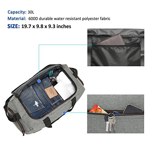 MarsBro Water Resistant Sports Gym Travel Weekender Duffel Bag with Shoe Compartment Grey by MarsBro (Image #2)