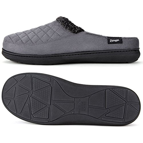 Zigzagger Men's Suede Fabric Memory Foam Slippers Slip On Clog House Shoes Indoor/Outdoor by Zigzagger (Image #2)