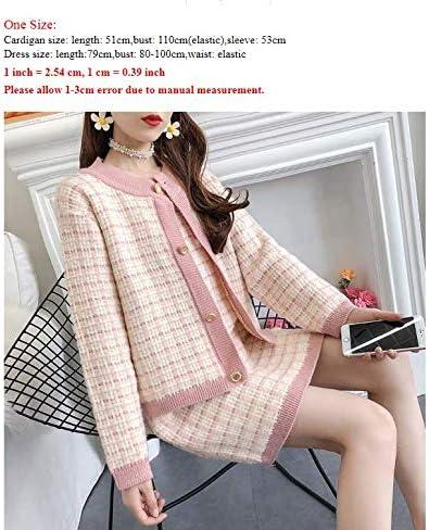 WGROBU Strickkleid Herbst Winter Casual Gestrickte Frauen 2 Stück Set Einreiher Strickjacke Mantel + Plaid Minikleid Anzug Pink suit