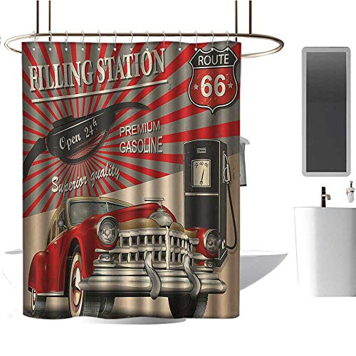 - Qenuan Colorful Shower Curtain Cars,Poster Style Image Gasoline Station Commercial Kitschy Element Route 66 Print,Vermilion Beige,Metal Rust Proof Grommets Bathroom Decoration 36