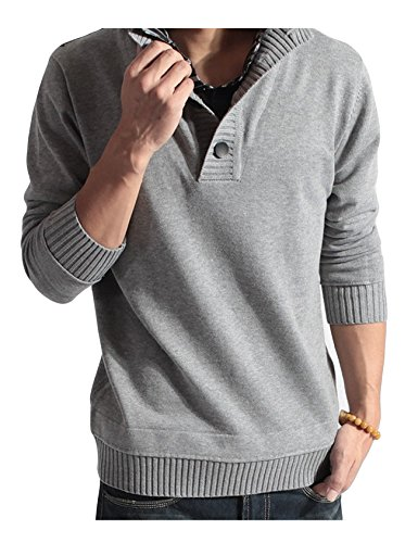 (Letuwj Mens 1/4 Zip Sweater Fake Two Pieces Mock Neck Sweater Light Gray Large)