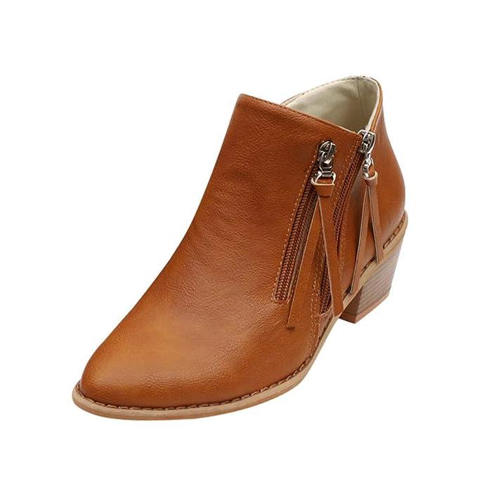 MYMYG Botas de tacón Alto para Mujer,Bota de Cremallera de tacón Alto Remache Redondo y Botines Black Friday Botas Cortas Solo Zapato de Mujer de Invierno: ...