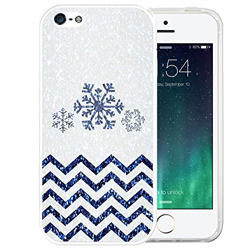 iPhone SE Case Christmas,iPhone 5S Plus, LAACO Beautiful Clear TPU Case Rubber Silicone Skin Cover for iPhone SE / 5 / 5S - Chevron snowflakes