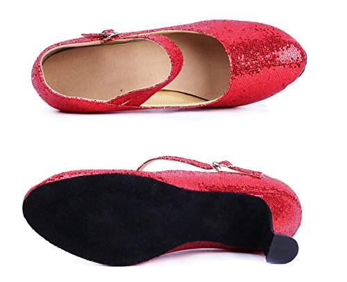 Pointed Dance Latin Strap Ballroom Red 5 Women's Dancing Heels toe Shoes Y Glitter 8 c5tq1WX