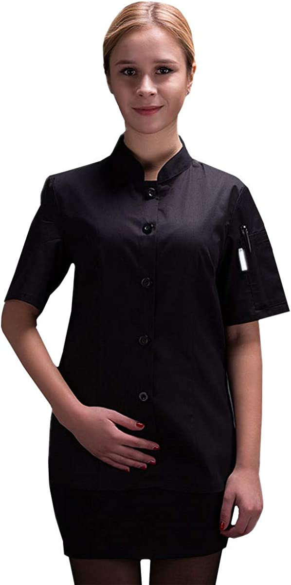XINFU Woens Chef Jacket Short Sleeve Summer Pure Color Chef Uniform Hotel Chefs Work Clothes
