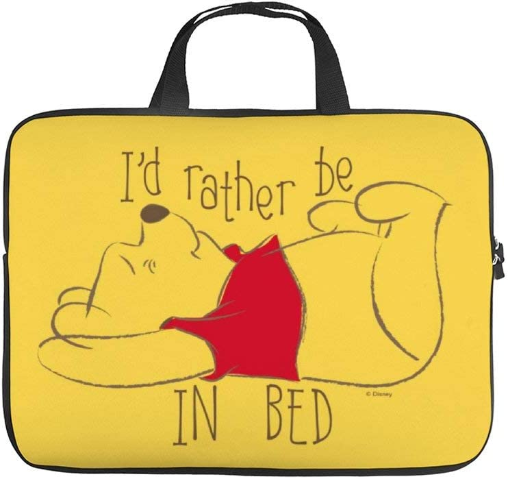 Neoprene Sleeve Laptop Handle Bag Handbag Notebook Case Cover,Pooh Id Rather Be in Bed Portable MacBook Laptop//Ultrabooks Case Bag Cover 15 Inch