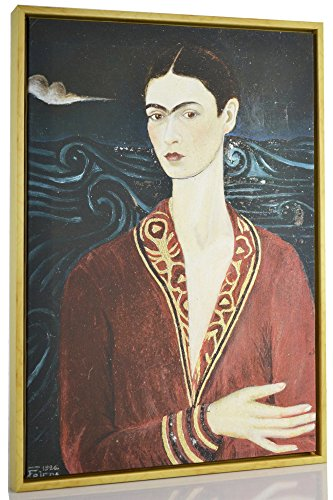 Berkin Arts Framed Kahlo de Rivera Giclee Canvas Print Paintings Poster Reproduction Fine Art Home Decor (Self-Portrait Wearing a Velvet Dress) (Painting Of Frida Kahlo And Diego Rivera)