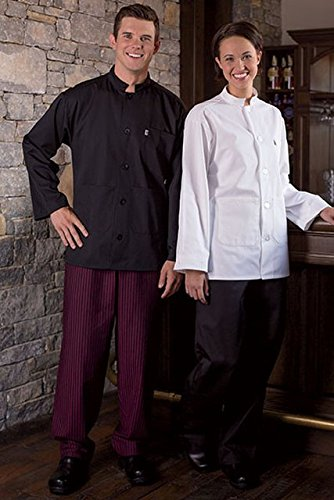 Uncommon Threads 4003-5602 Yarn Dyed Baggy Chef Pant in Black and Wine Stripe - Small by Uncommon Threads