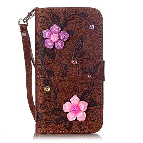 EKINHUI Case Cover Synthetische PU-Leder Fall mit 3D-Harz Rhinetone Geprägte Blumen Schmetterling Mappen-Standplatz-Fall-Abdeckung mit Handschlaufe für iPhone 7 ( Color : Brown )