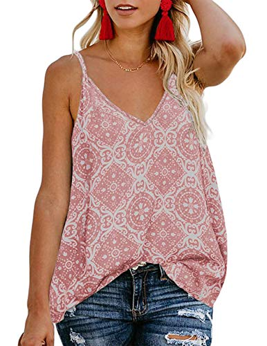 (TECREW Women's Boho Floral V Neck Spaghetti Straps Tank Top Summer Sleeveless Shirts Blouse)