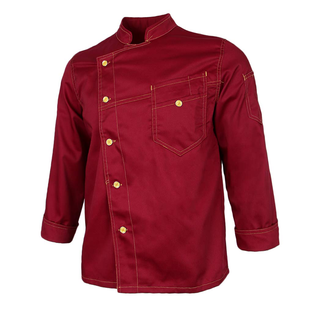 Fityle Simple Stitched Chef Jacket Food Service Kitchen Uniform Long Sleeve for Women Men