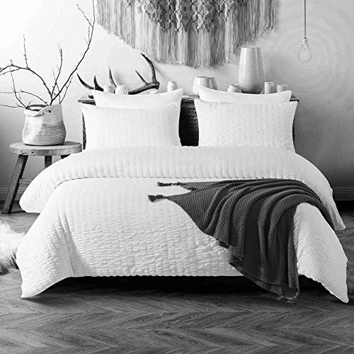 3 Pieces White Duvet Cover Set Seersucker Bedding White Seersucker and Washed Microfiber Reversible Design Plain White Bedding Sets King (104