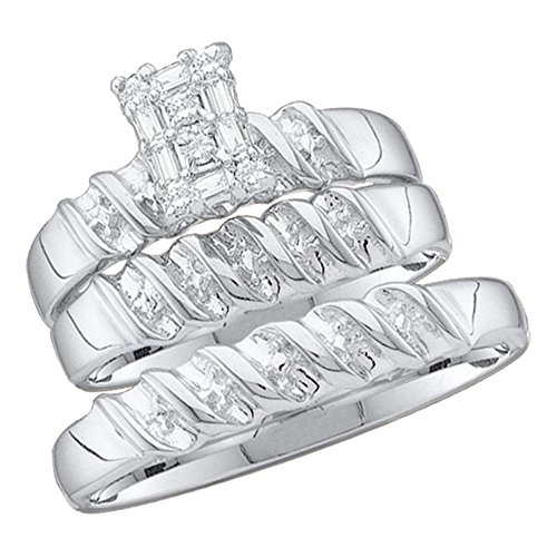 - Sizes - L = 7, M = 10 - 10k White and Yellow 2 Two Tone Gold Mens and Ladies Couple His & Hers Trio 3 Three Ring Bridal Matching Engagement Wedding Ring Band Set - Round and Baguette Diamonds - Emerald Shape Center Setting (1/10 cttw) - Please use drop down menu to select your desired ring sizes