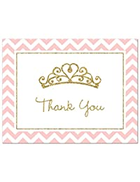 50 Princess Tiara Thank You Cards (Faux Gold Glitter-Pink) BOBEBE Online Baby Store From New York to Miami and Los Angeles
