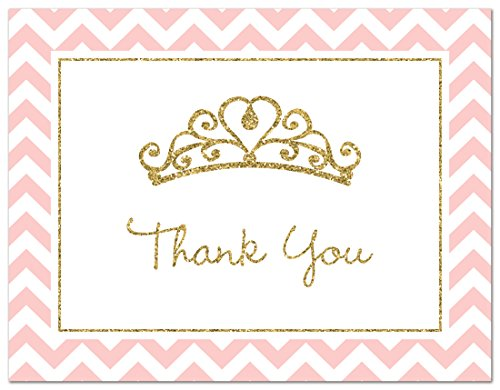50 Princess Tiara Thank You Cards (Faux Gold Glitter-Pink)