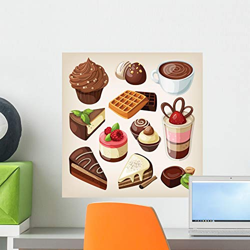 Wallmonkeys Set Chocolate Food Wall Mural Peel and Stick Vinyl Graphic (18 in H x 17 in W) WM525405