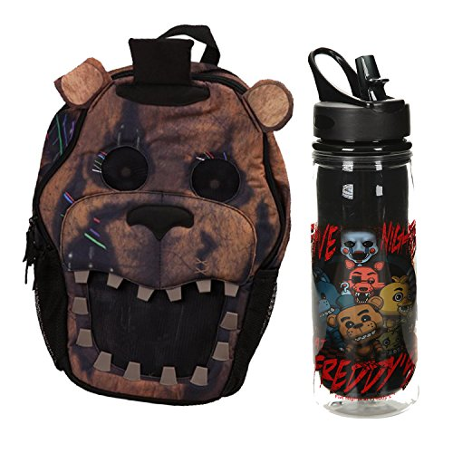 [FNAF Five Nights at Freddy's Backpack (3D Model) & 20 oz Durable Waterbottle] (Five Nights At Freddys Costume Mangle)