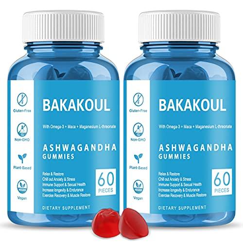 Ashwagandha Gummies 2 Pack Organic Ashawanga KSM-66 Gummy Root Supplement for Women & Men Help Stress Relief, Rest & Relax, Improves Sleep & Mood (Vegan, Non-GMO, Gluten & Gelatin Free 120 Count).