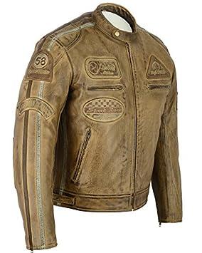 Chaqueta de moto de cuero, para hombre, color marrón: Amazon.es: Coche y moto