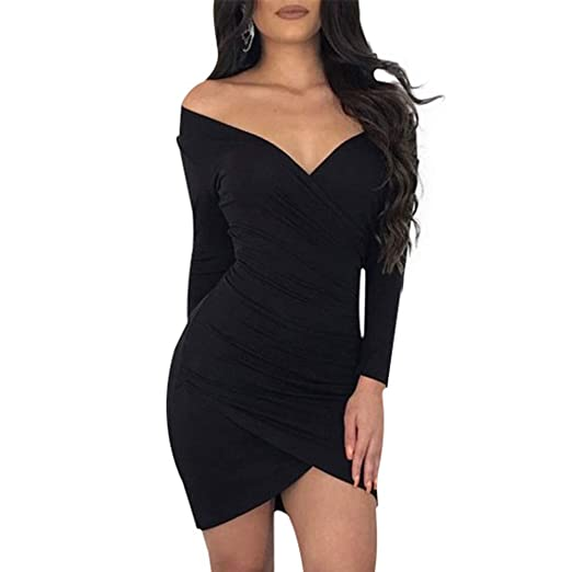 Womens Sexy V Neck Off Shoulder Dress Long Sleeve Party Dress Tight
