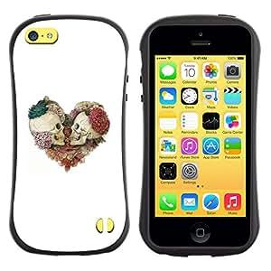 LASTONE PHONE CASE / Suave Silicona Caso Carcasa de Caucho Funda para Apple Iphone 5C / Skull Floral White Rose Death Heart