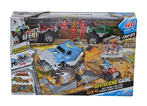 Planet of Toys Puzzle 4X4 Cross Country Racing Playset 4 Scenes Game - 46 Pieces (Figures & Accessories) For Kids, Children