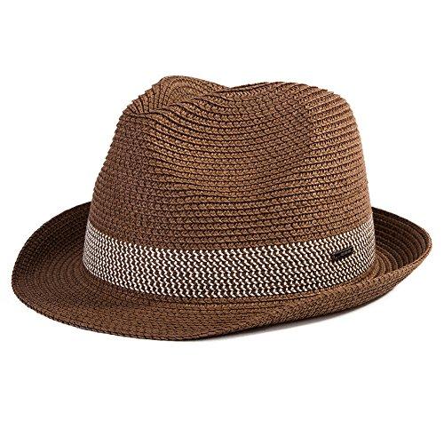 Straw Fedora Summer Panama Beach Hats Cap Men Lady Dress Sun Hats Fashion Crushable 56-59CM Cuban Tan]()
