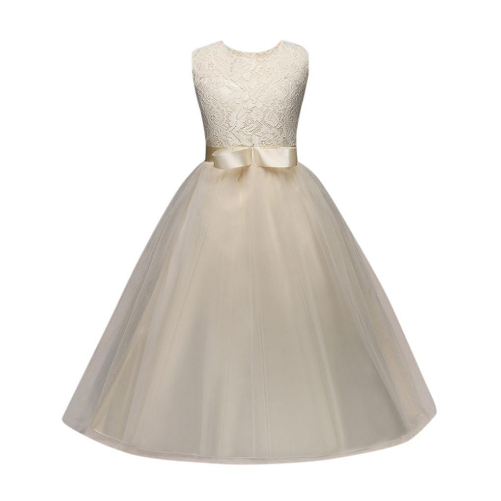 Yuxing Kids Girls Cute Wedding Princess Pageant Birthday Party Dress (Yellow, 8T)