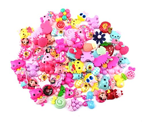 Honbay 100 Gram (Approx 70-75pcs) Assorted Cartoon Animal Flower Resin Flatback Charms Hair Clip Hairpin DIY Craft Jewelry Decoration Pieces