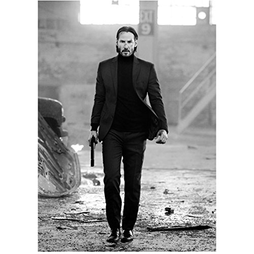 Keanu Reeves as John Wick Walking Outside Holding Weapon 8 x 10 Inch Photo